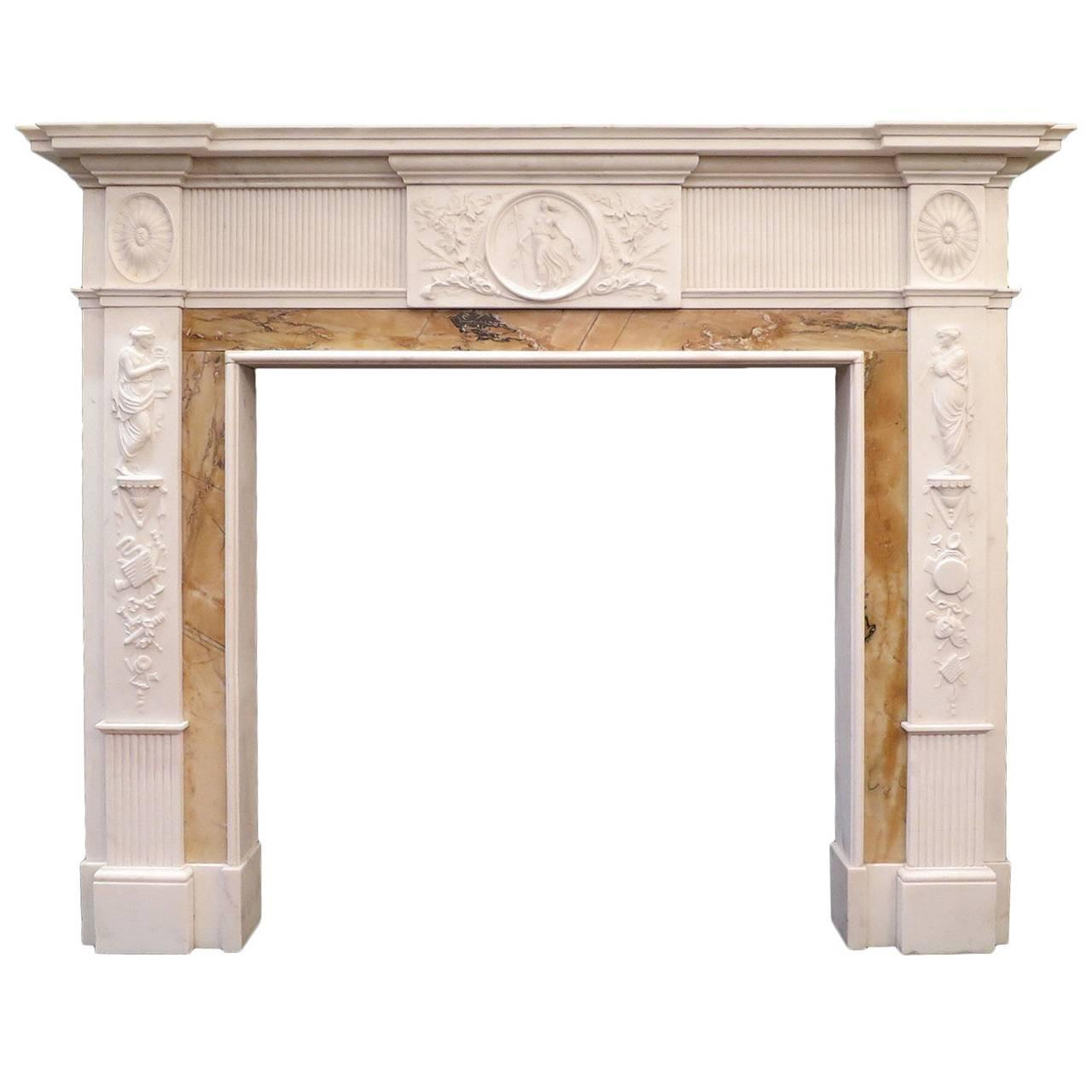 Antique 19th century neoclassical marble fireplace mantel for Marble mantels for sale