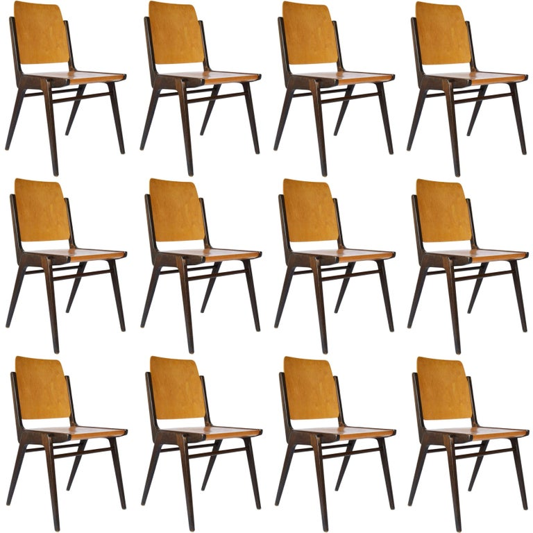 One of 12 Stacking Chairs Franz Schuster, Bicolored Beech, Austria, 1959