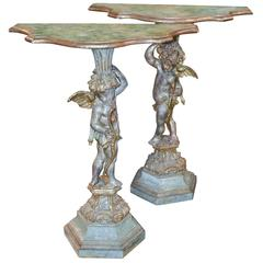 19th Century Pair of Italian Polychrome Side Tables