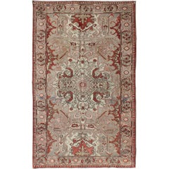 Antique Sevas Turkish Rug in Gray, Taupe, Blush, Rosewood Red and Charcoal