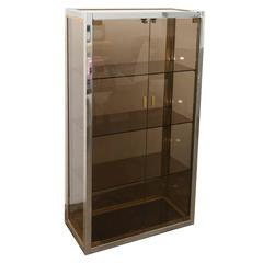 Mid-Century Modern Italian Chrome, Brass & Smoked Glass Vitrine by Romeo Rega