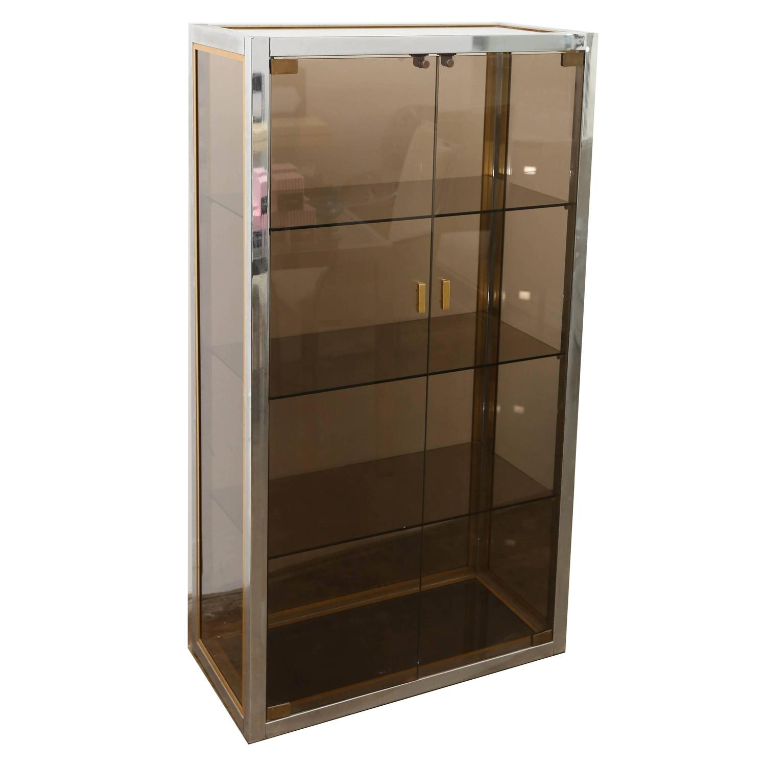 Blickfang Vitrine Beste Wahl Mid-century Modern Italian Chrome, Brass And Smoked