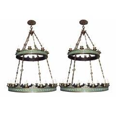 Pair of Large Bronze Chandeliers