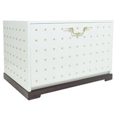 Tommi Parzinger Originals Cabinet Studded White Lacquered Drop-Front USA 1950s