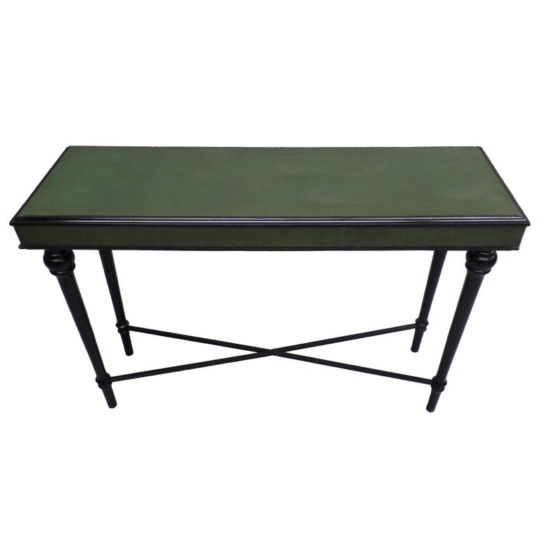 French Mid-Century Modern Neoclassical Ebony & Leather Console by Maison Jansen