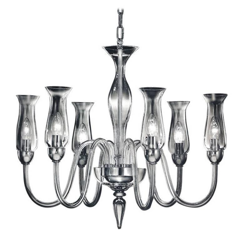 Two Modern Neoclassical Clear Murano Glass Chandeliers With Shades