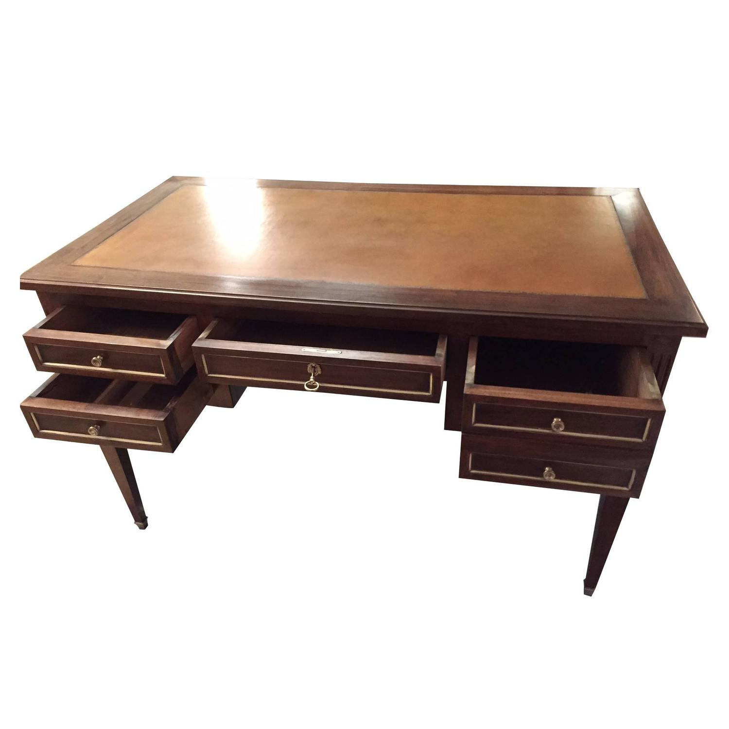 French Leather Writing Desk Table with Glass over Cognac