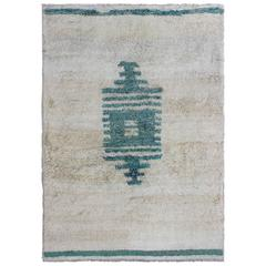 Unique Turkish Vintage Tulu Rug with Modern Design in Teal & Off White