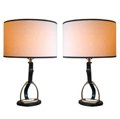 Pair of Mid-Century Modern Neoclassical Leather 'Stirrup' Table Lamps by Hermes