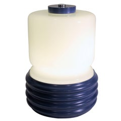 Space Age Era Opaline and Blue Lacquered Metal Table Lamp