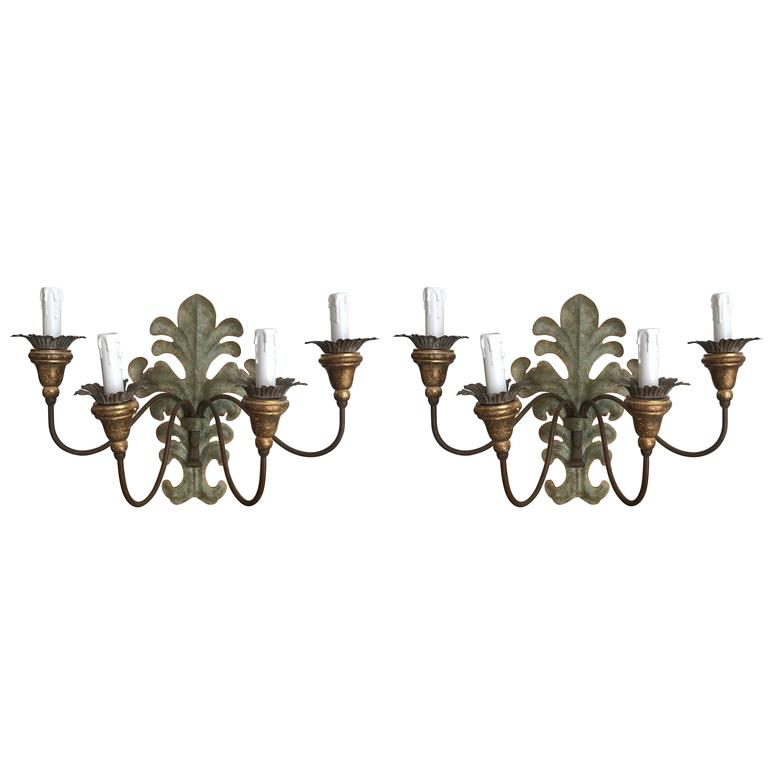 Pair of French 4-Arm Wood and Tole Sconces