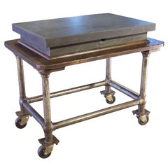 Vintage Industrial Wood & Steel Factory Table Rolling Bar Cart with Granite Top