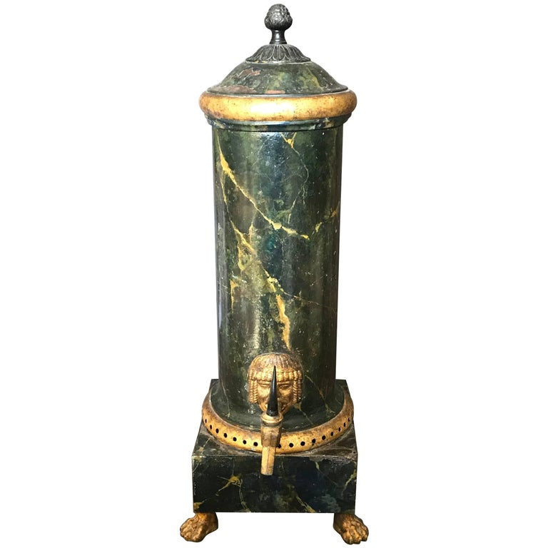 Neoclassical Green and Gilt Faux Marble Samovar Coffee Urn For Sale