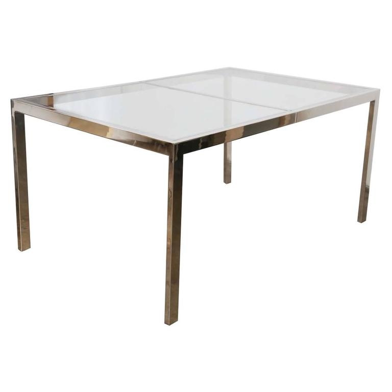 Milo Baughman Chrome And Gl Dining Table For