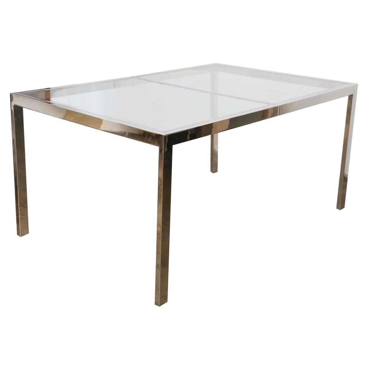 Milo Baughman Chrome And Glass Dining Table At 1stdibs