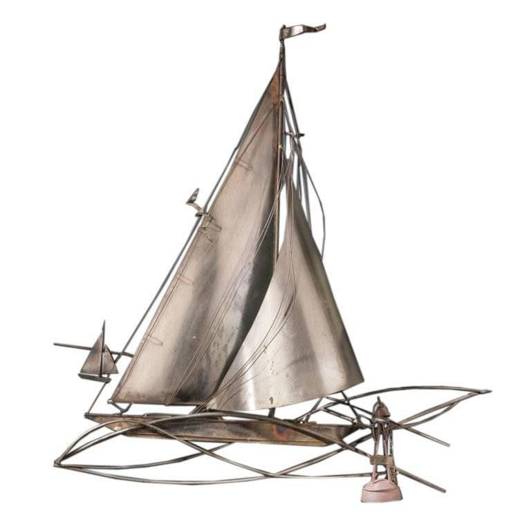 Polished Steel Boat Sculpture by Curtis Jere