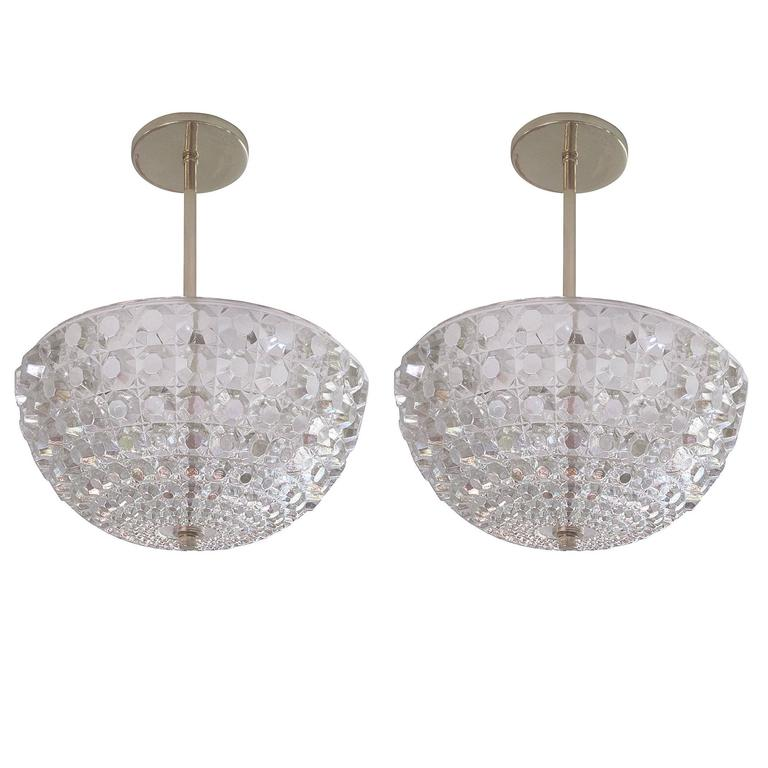 2 Austrian Mid Century Modern Crystal Pendants Chandeliers Attr Bakalowits For