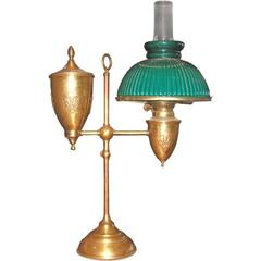 19th Century Oil Student Lamp by Bradley & Hubbard