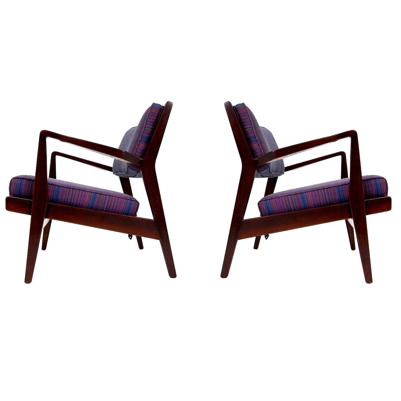 Pair of Jens Risom Lounge Chairs in Walnut