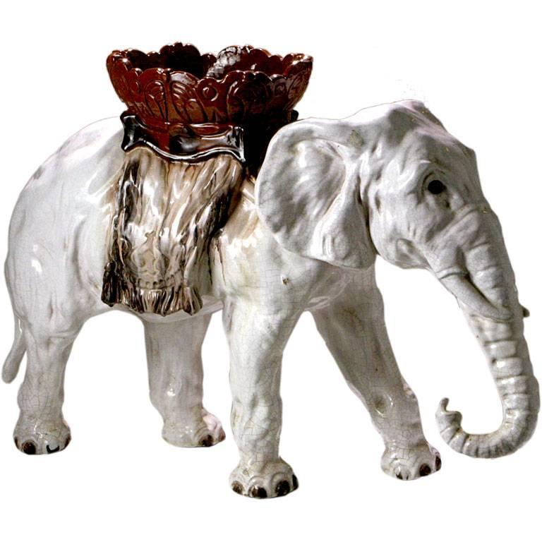 French Majolica Elephant For Sale