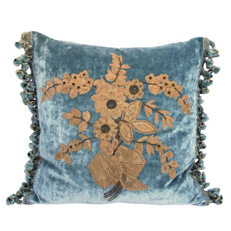 19th Century French Lace Appliqued Pillow For Sale