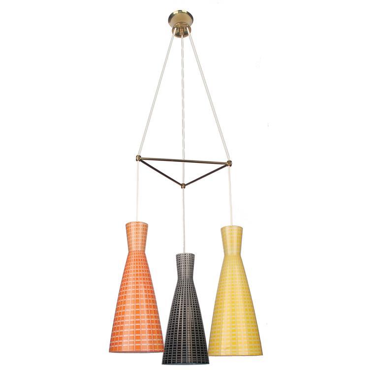 Large Glass & Brass Chandelier,  Modernist Design, Stilnovo Style Pendant Lamp  1
