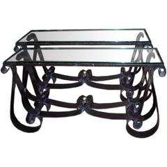 Pair of Moderne Wrought Iron Consoles