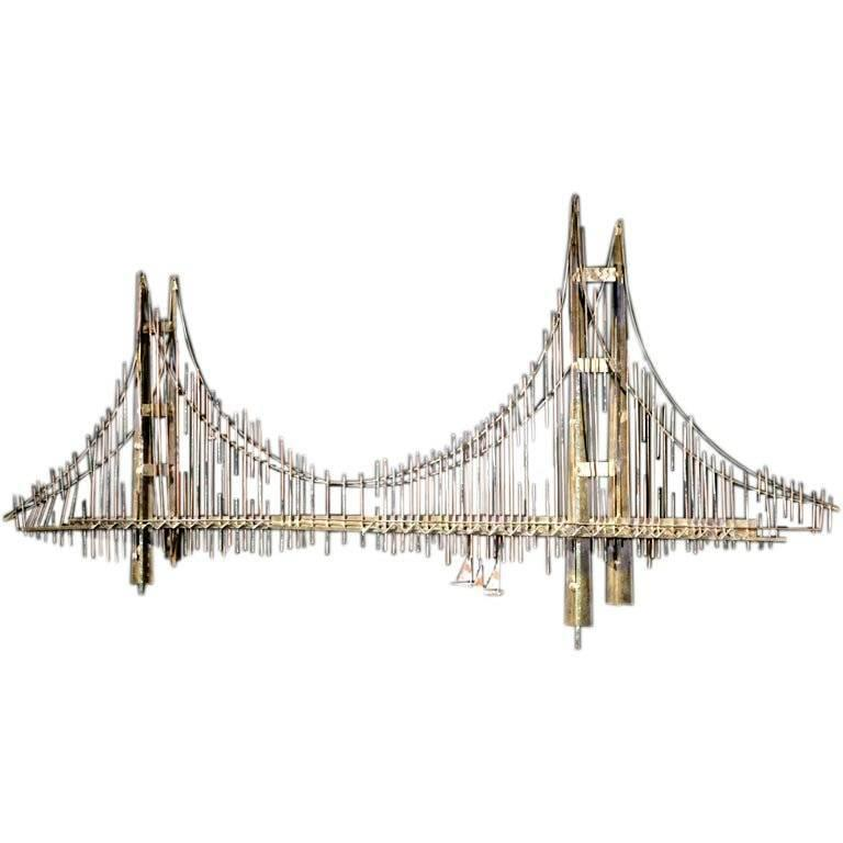 Wall Sculpture Scene Of The Golden Gate Bridge By Curtis Jere For Sale