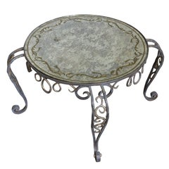 Painted Iron Coffee Table with Reverse Painted Glass
