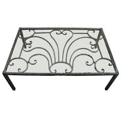 French Silvered Iron Low Table with Glass Top