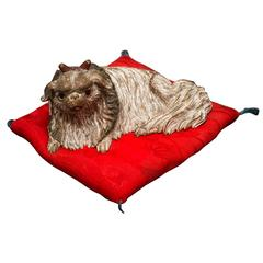 Keyaki Wood Pekingese Dog Sculpture