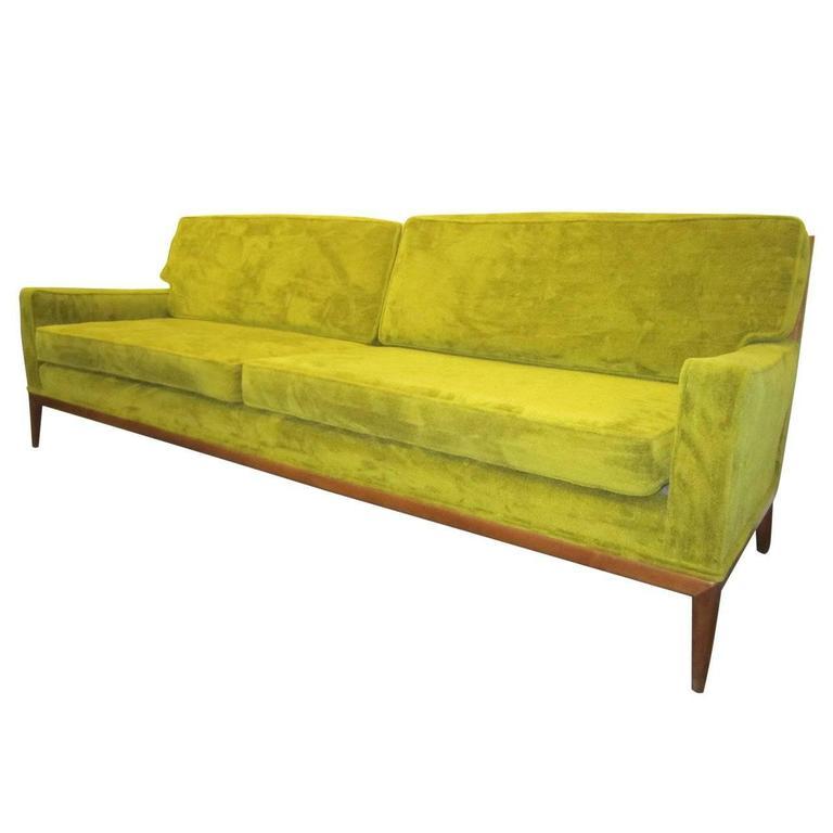 T.H. Robsjohn Gibbings Style Walnut Framed Sofa Mid-Century Modern