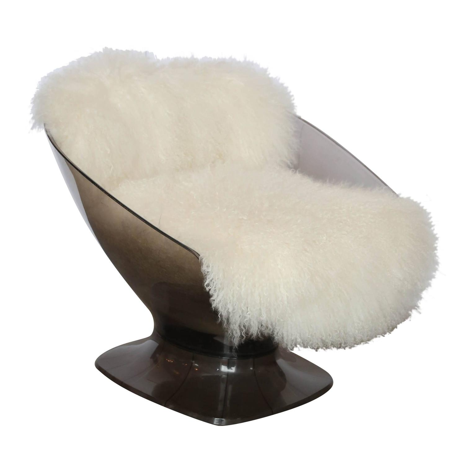 Raphael Lucite And Mongolian Sheepskin Lounge Chair At 1stdibs
