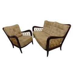 Rare Italian Settee / Sofa and Armchair Attributed to Paulo Buffa