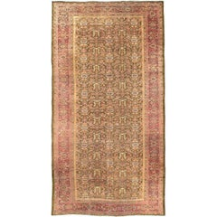 Large Gallery Rug Antique Ziegler Sultanabad Long Rug in Army Green Background