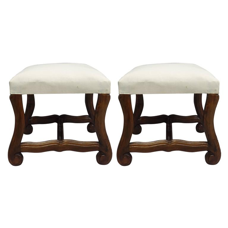 Pair of French 1930s Carved Stools or Benches in the Louis XIV Style 1