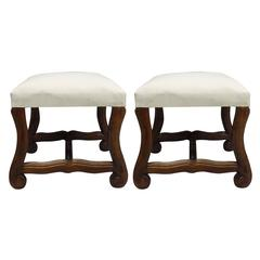 Pair of French 1930s Carved Stools or Benches in the Louis XIV Style