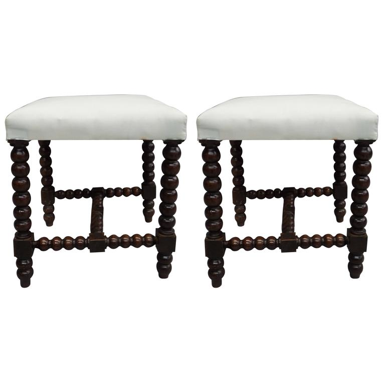 Pair of Louis XIII Style Hand-Carved Benches or Stools 1