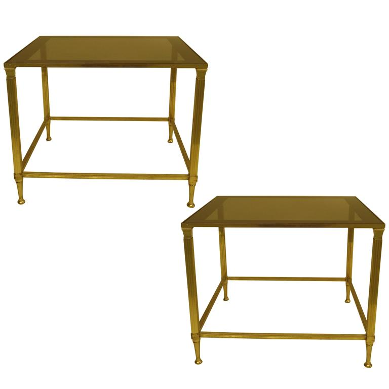 Pair French Mid-Century Modern Neoclassical Brass Side Table Attr. Maison Jansen