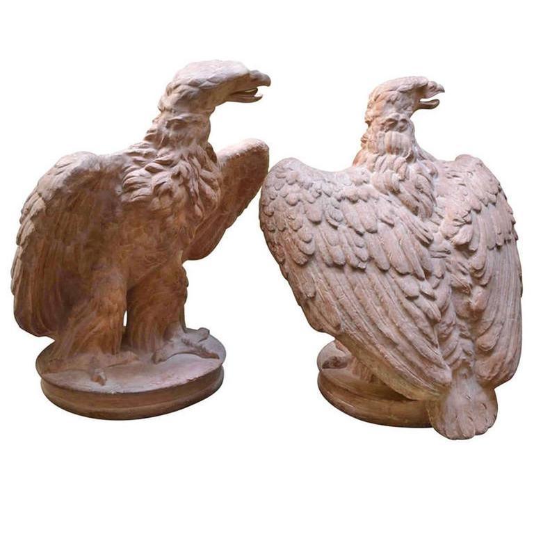 Pair of Terracotta Eagles