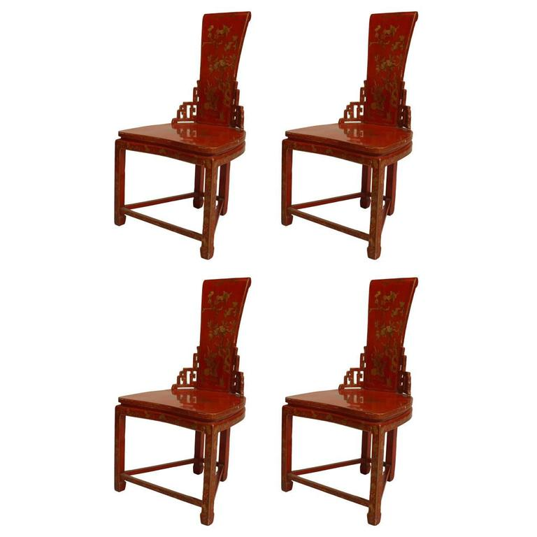 Pairs of 19th Century Chinese Red and Gilt Lacquered Side Chairs