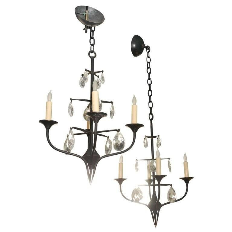 Pair of Mid-Century Erik Hoglund Iron Chandeliers 1