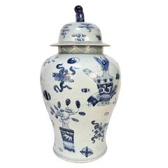 Blue and White Jar with Scholar's Objects