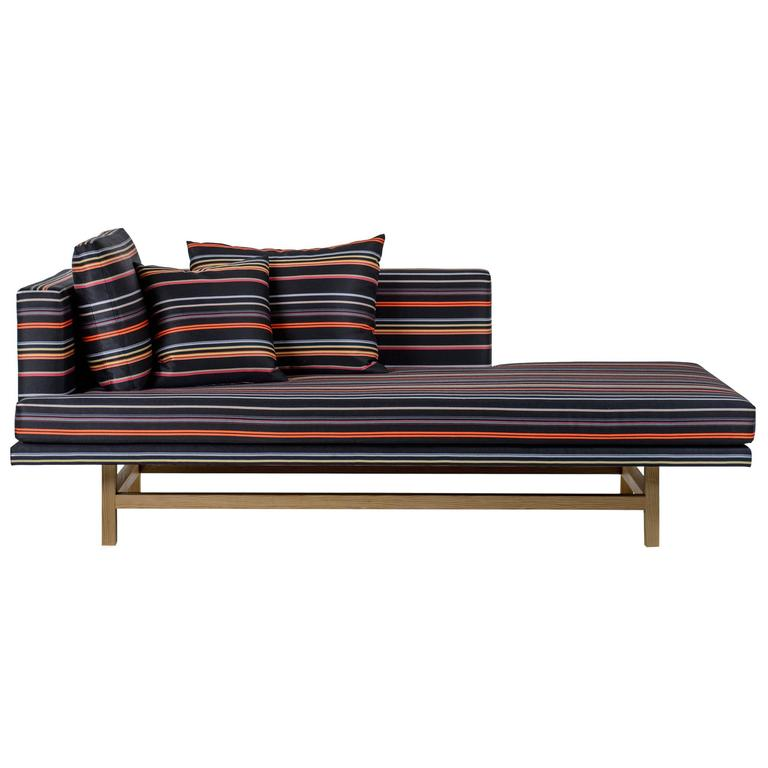 Aragon Chaise Lounge with White Oak Legs and Striped Wool For Sale