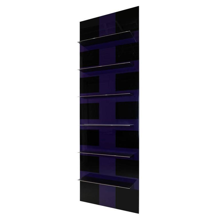 Basilio Cantilevered Shelf Unit, Aluminium, Bronze Shelves, Polychrome Lacquer