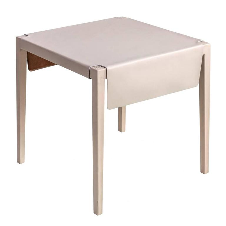 Emile Side Table Or End Table With Cream Molded Leather Over Maple Frame 1