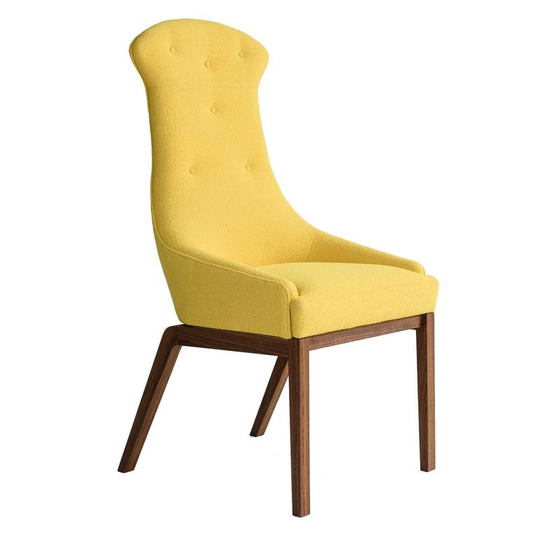Evander Dining Chair in Yellow Wool Bouclé with Solid Walnut Base