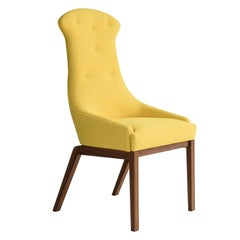 Evander Dining Chair in Yellow Wool Bouclé with Solid Walnut Base COM or COL