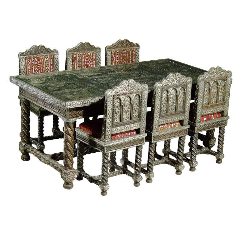 Attrayant Carved Moroccan Hardwood Table With Chairs For Sale