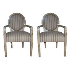 A pair of  arm chairs w/crackle finish